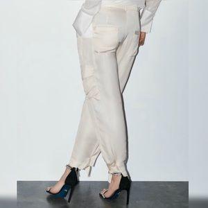 Zara Satiny Cargo Pants Size Small